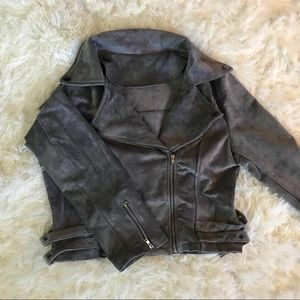 Moto Biker Jacket Gray Grey